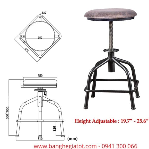 Ghế bar chân sắt đế nệm